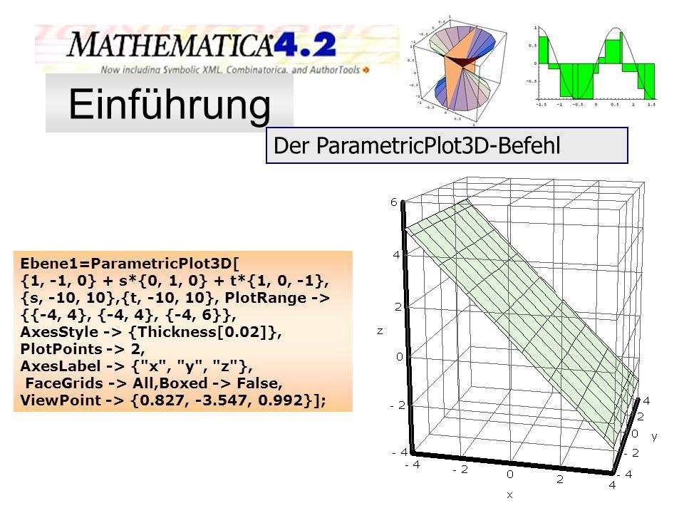 Einführung Der ParametricPlot3D-Befehl Ebene1=ParametricPlot3D[